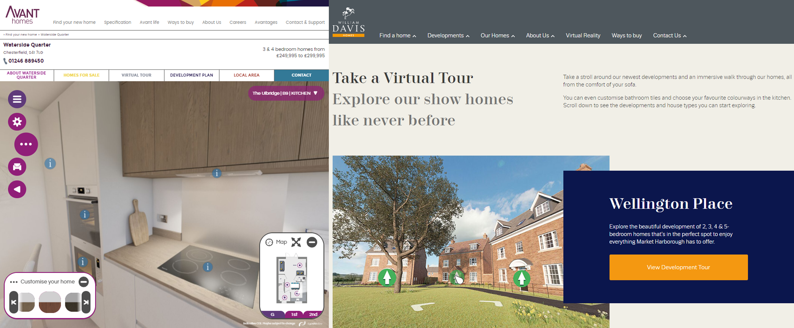 Avant Homes and William Davis Homes virtual tours